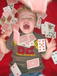 Child playing with cards